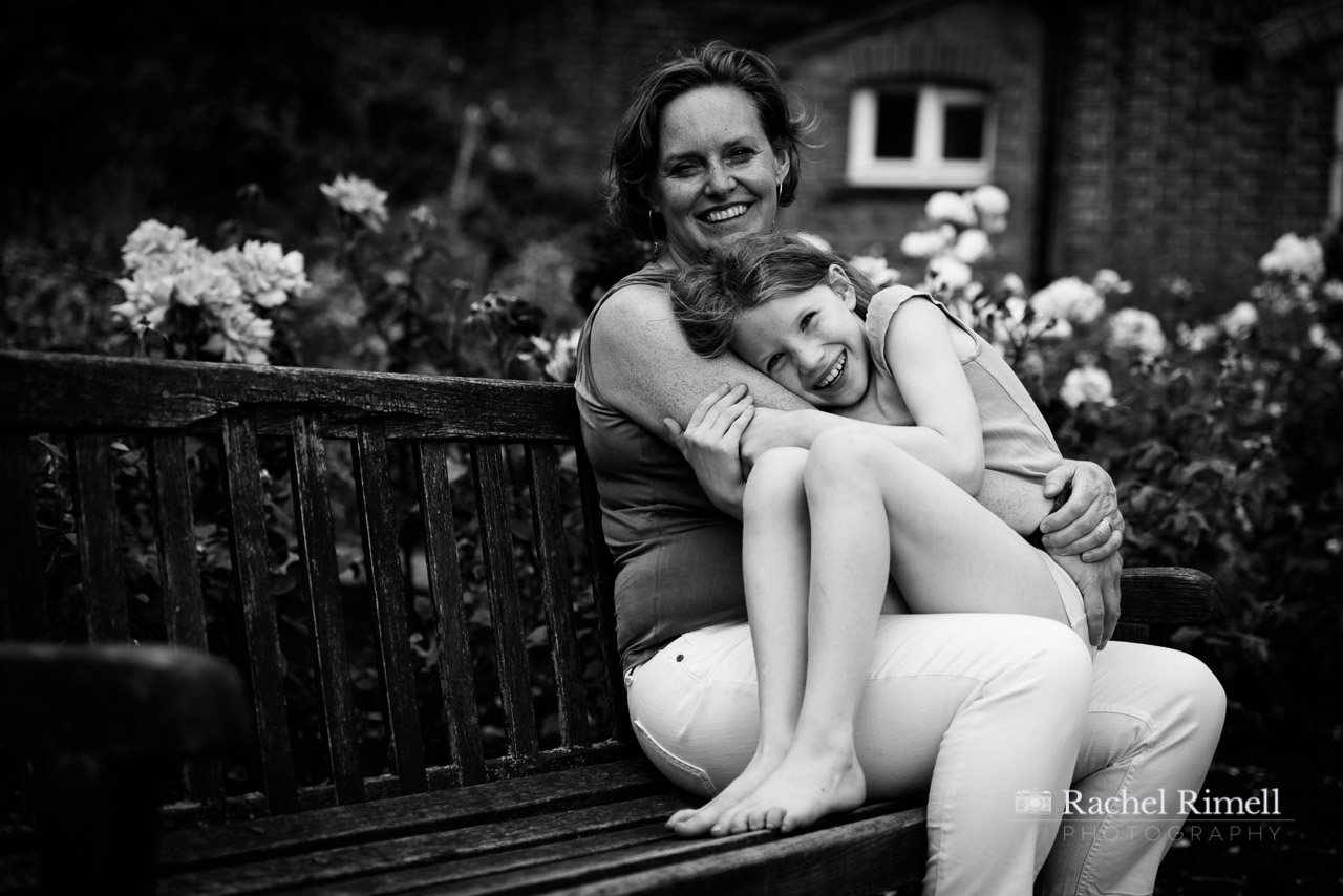 black and white photo of mother and child at Rockwell park London