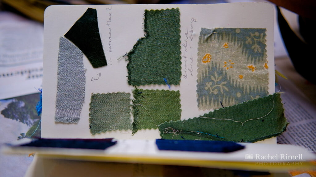 detail of fabric book of London textile artist