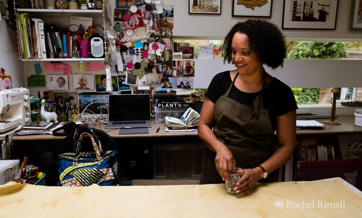 environmental portrait of textile artist Emma Walker in her studio