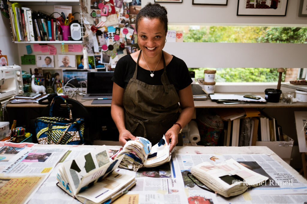 Textile artist in her studio in Crystal Palace London environmental portrait