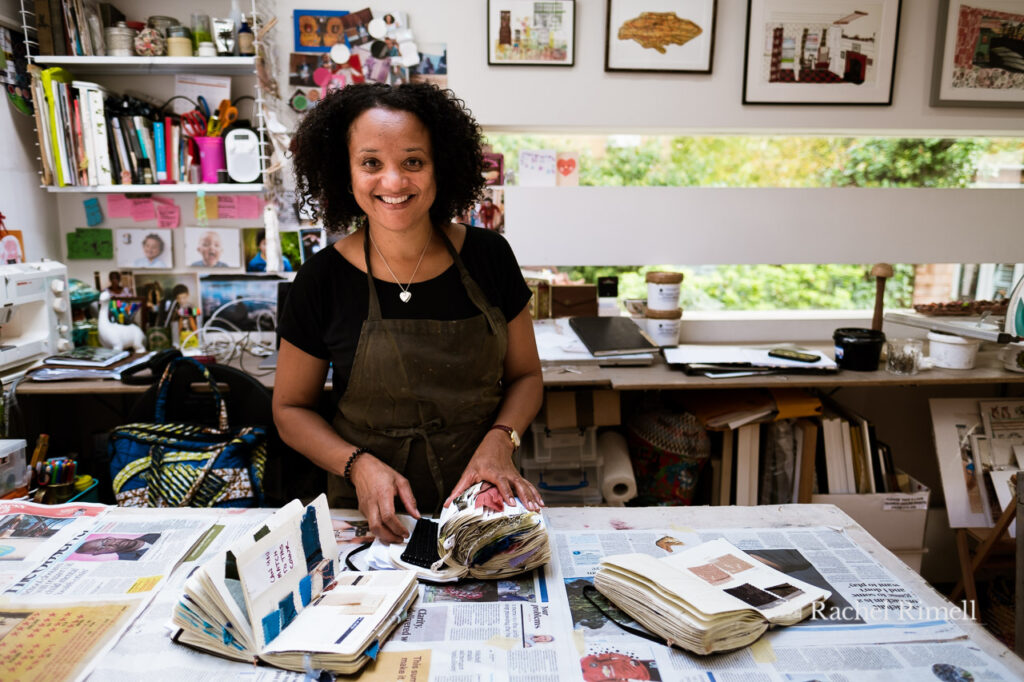 personal branding portrait of textile artist and illustrator Emma Walker in her Crystal Palace studio