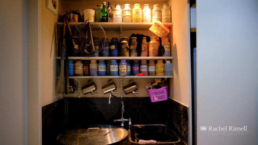London textile artist colour dye cabinet