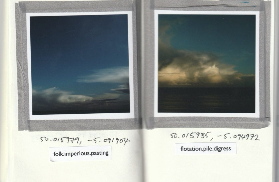 image taken from photo art book of two seascapes by Yorkshire photographic artist Rachel Rimell. Images include the coordinates where the images were taken and the What Three Words [inpoint location.